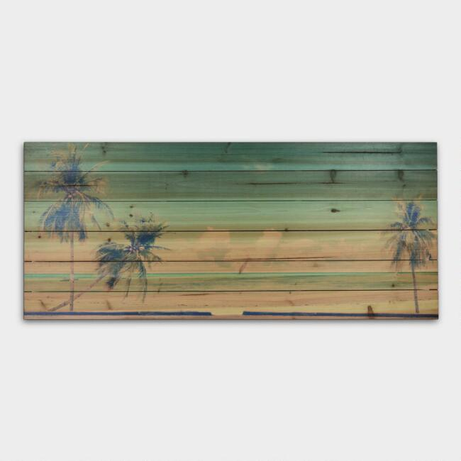 Beach and Palm Trees on Wood Wall Art