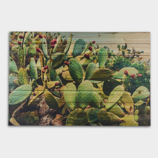 Cactus Landscape on Wood Wall Art