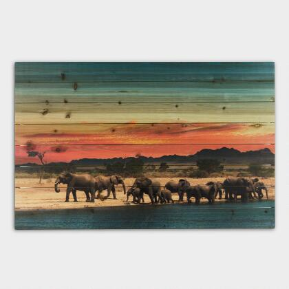 Elephant Herd On Wood Wall Art