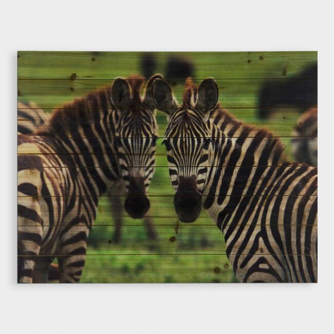 Zebras on Wood Wall Art