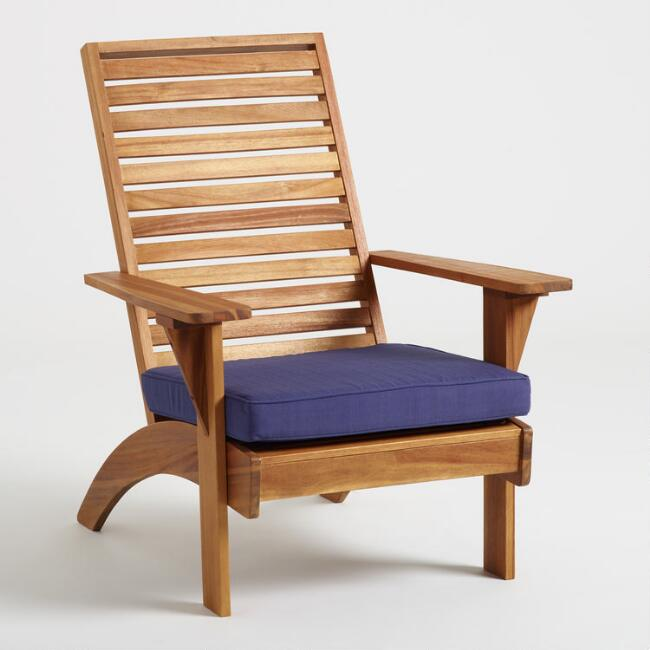 Natural Wood Hyacinth Adirondack Chair with Cushion