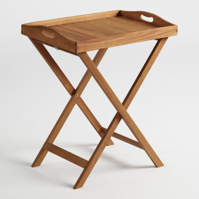 Natural Wood Hyacinth Outdoor Butler Table