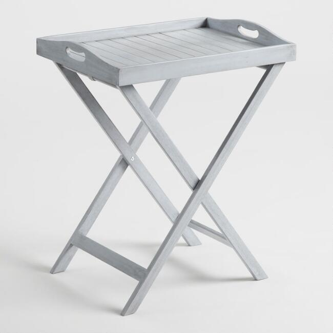 Gray Wood Hyacinth Outdoor Butler Table