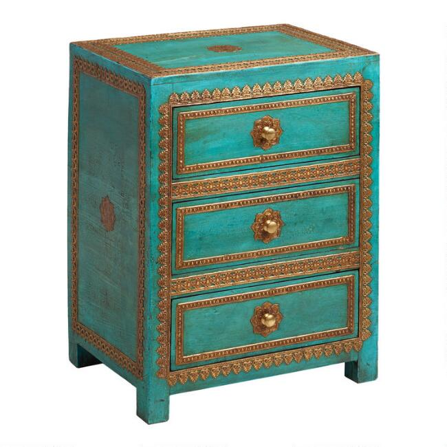 Turquoise Painted Wood and Metal Cabinet