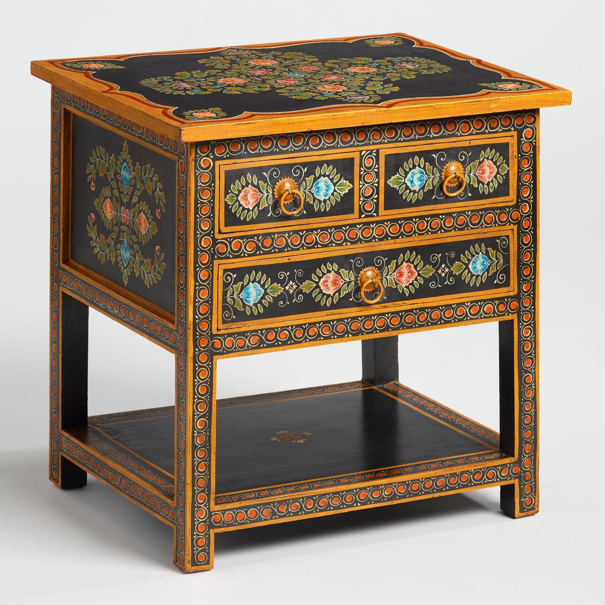 Floral Painted Wood Side Table: Black/Multi by World Market