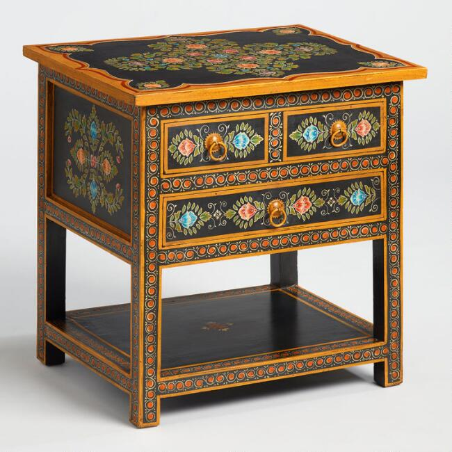 Floral Painted Wood Side Table
