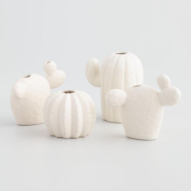 White Dolomite Cactus Vases Set of 4