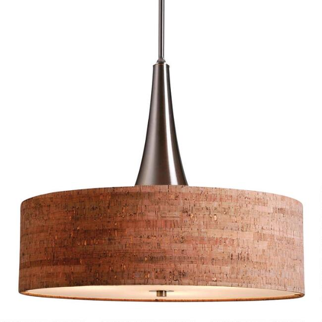 Brushed Steel and Cork 3 Light Pendant Lamp