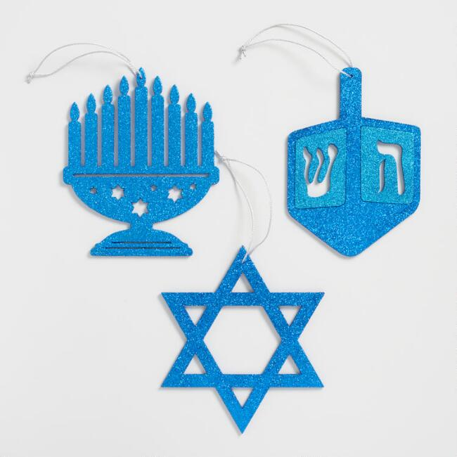 Glitter Wood Hanukkah Icon Hanging Decor Set of 3