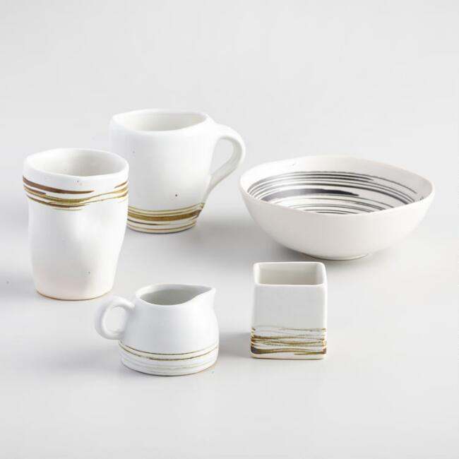 Espresso and Ivory Swirl Kamala Dinnerware Collection