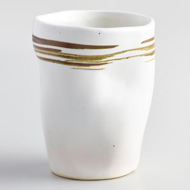 Large Espresso and Ivory Swirl Kamala Cups Set of 4