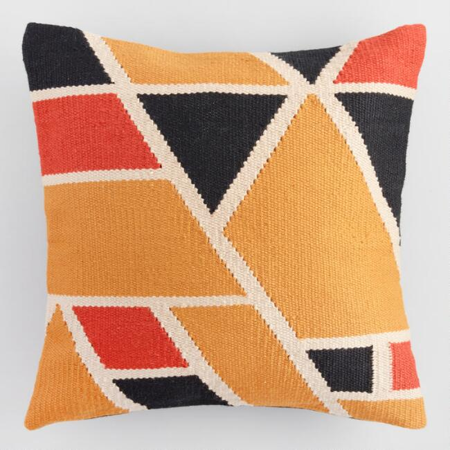 Warm Geometric Woven Indoor Outdoor Throw Pillow