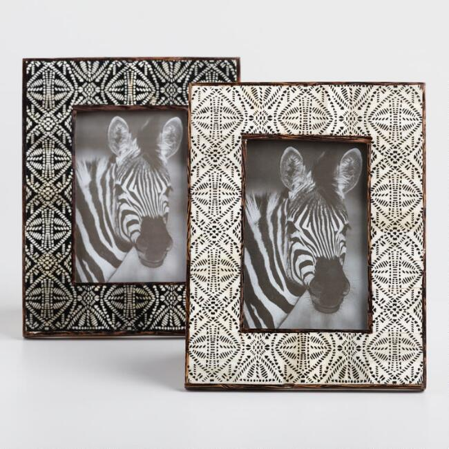 Mud Cloth Bone Frames Set of 2