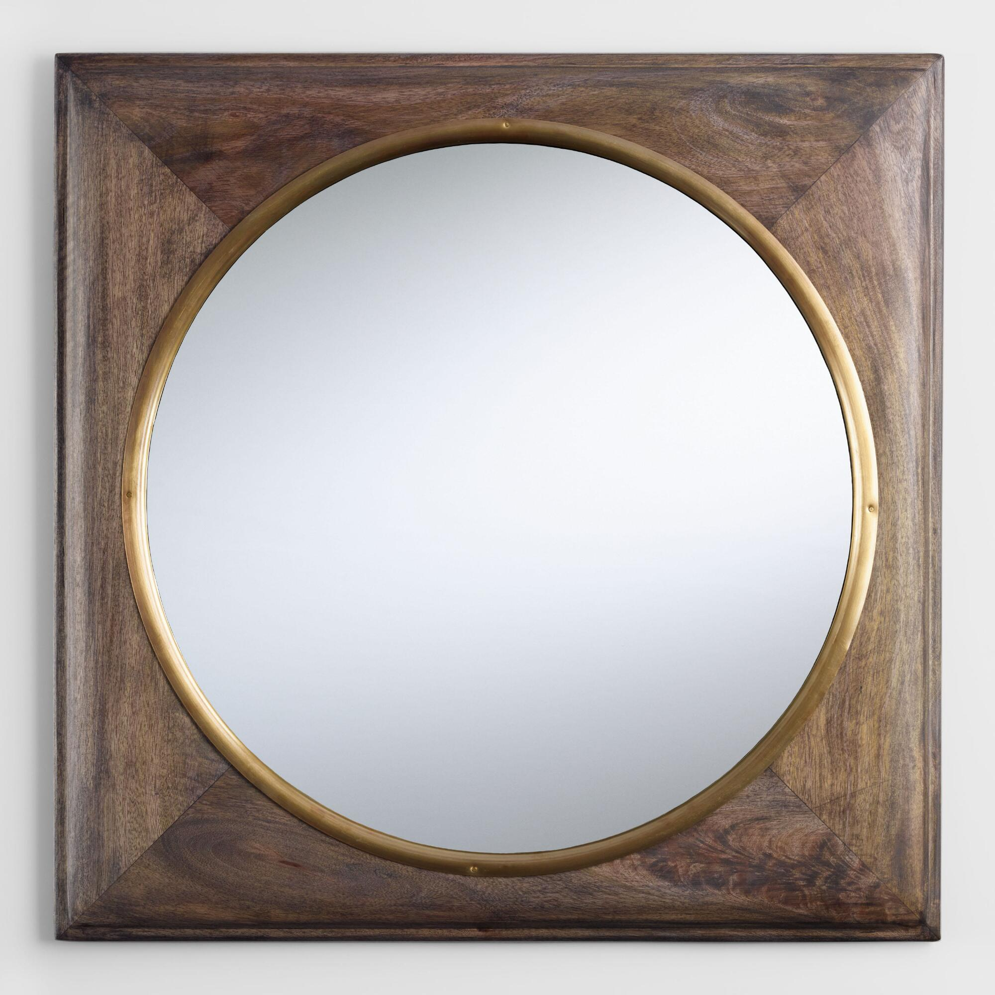 Brass and Wood Inset Wall Mirror: Brown by World Market