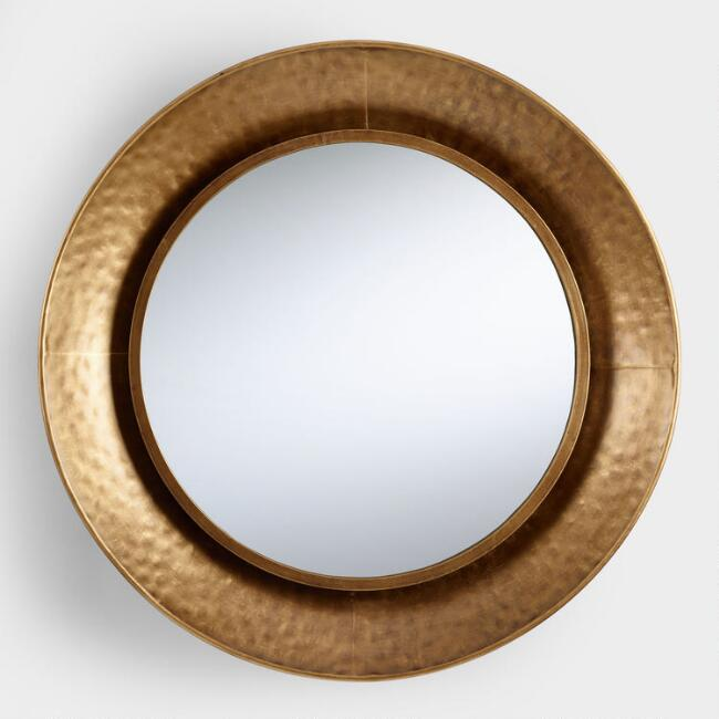Hammered Gold Round Mirror