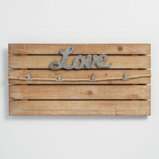 Love Slatted Wood Clip Wall Frame