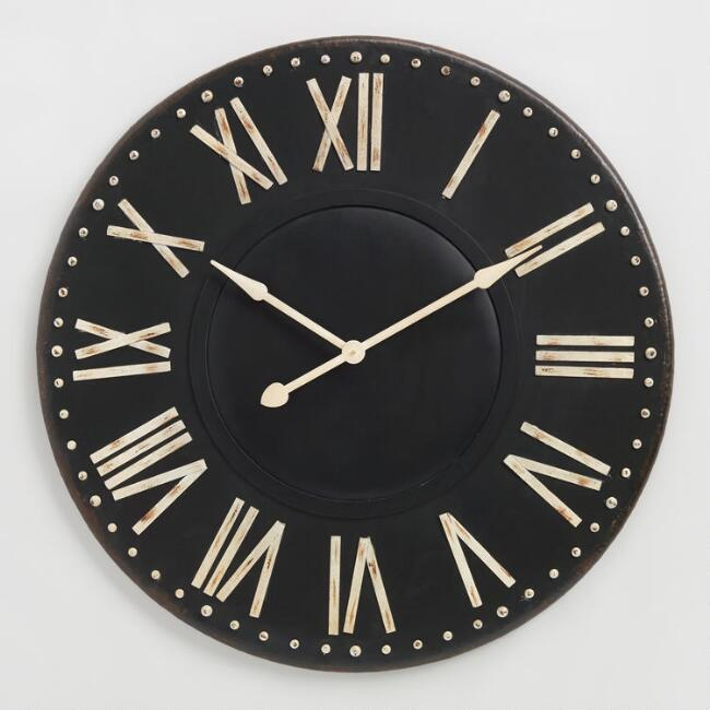 Distressed Black Iron Wall Clock