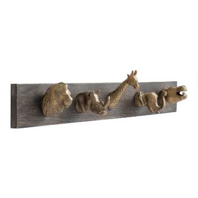 Safari Animal 5 Hook Wall Rack