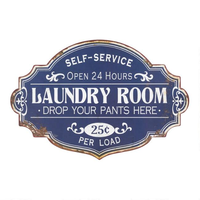 Blue Laundry Room Metal Sign