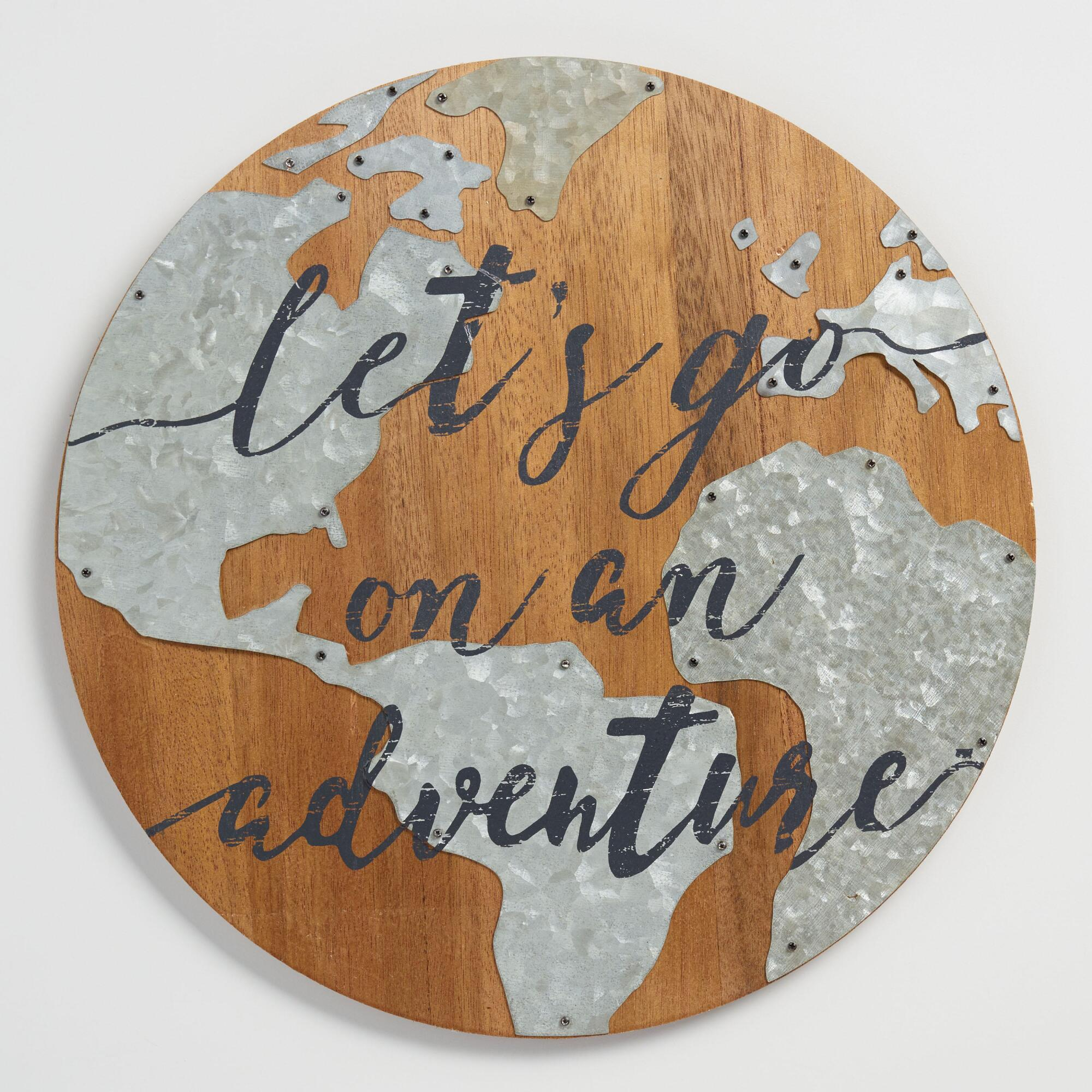 Let's Go on an Adventure Wood and Metal Sign: Natural/Silver by World Market