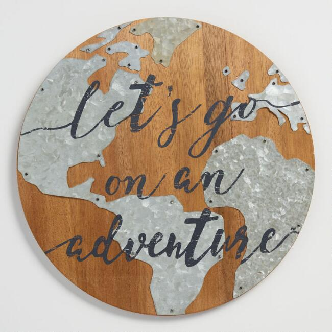 Let's Go on an Adventure Wood and Metal Sign