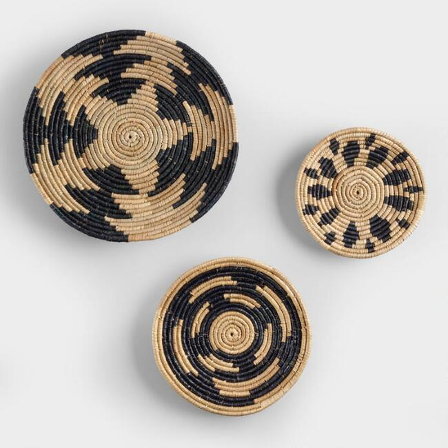 Black and Natural Seagrass Disc Wall Decor Set Of 3