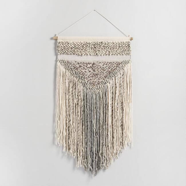 Gray Fringe Woven Wall Hanging