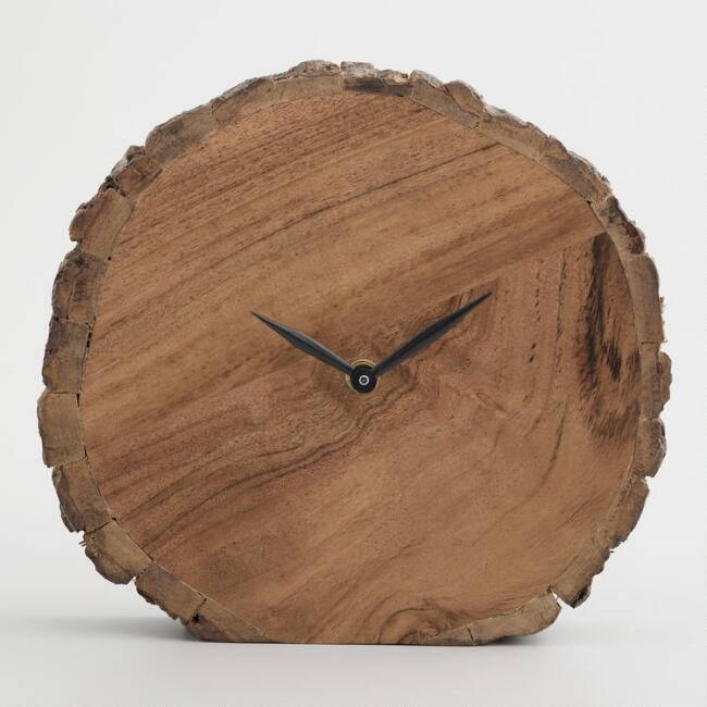 Rustic Wood Slice Standing Clock