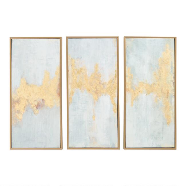 Fluent In Golds Triptych By Elinor Luna Wall Art 3 Piece