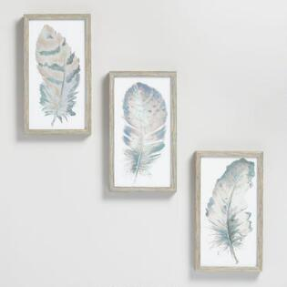 Blush Feathers By Patricia Pinto Wall Art Set Of 3