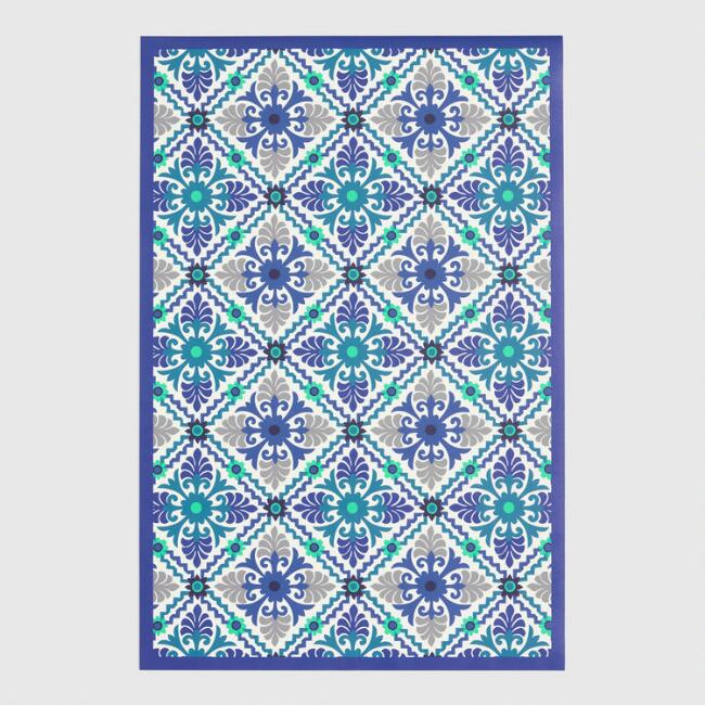 Blue and Ivory Barcelona Tile Print Vinyl Area Rug