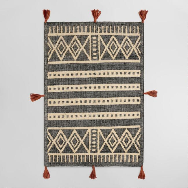 Black and Ivory Geometric Flatweave Jute Obasi Area Rug