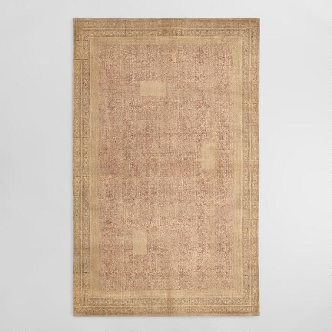5'x8' Rust Red and Gold Block Print Rani Area Rug