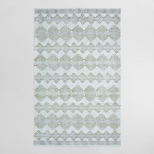 5'x8' Gray and Silver Block Print Medallion Adilade Area Rug