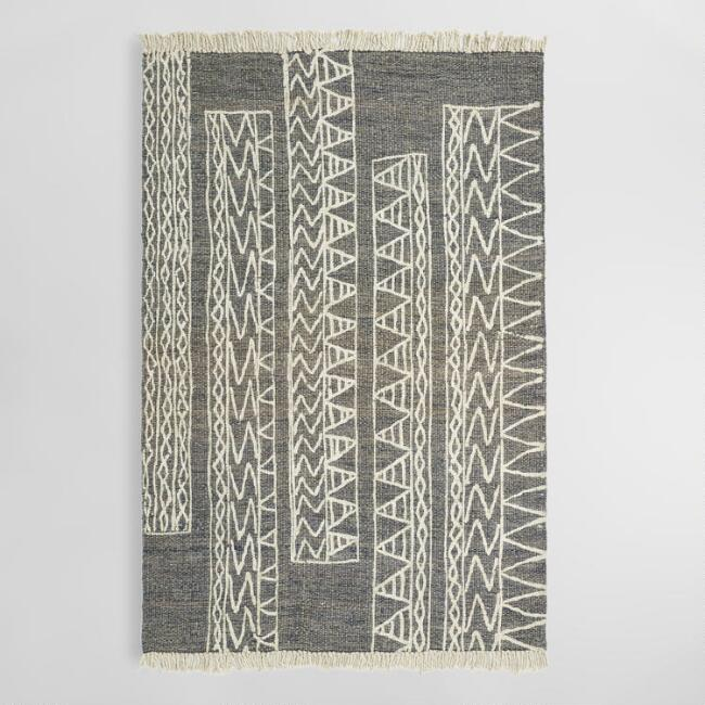 5 39 x8 39 black and white geometric print rashidi area rug for Geometric print area rugs
