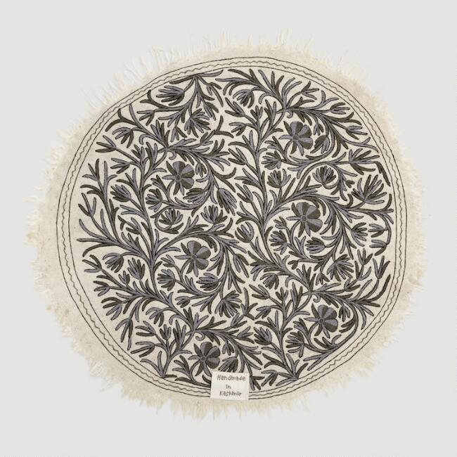 Round Gray Kashmir Embroidered Wool Daria Area Rug