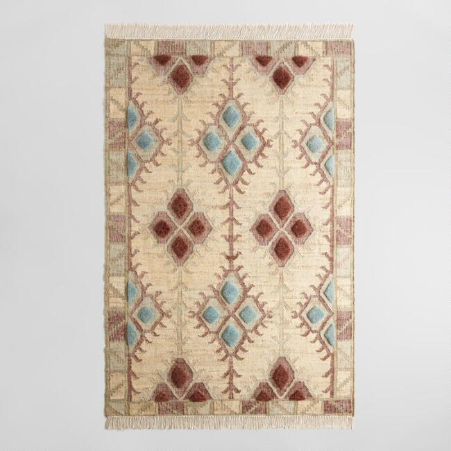 Light Blue and Wine Red Diamond Jute Kilim Anki Area Rug