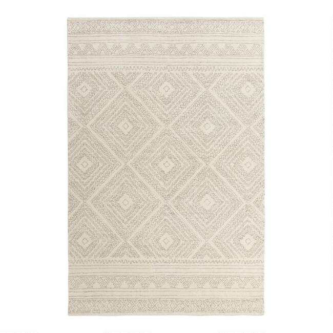 Ivory Diamond Tufted Wool Kelsey Area Rug