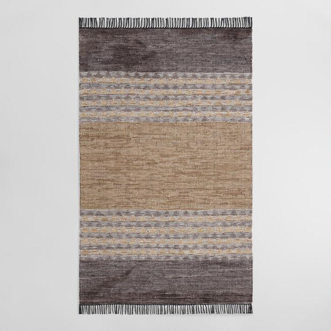 Wide Stripe Leather and Cotton Chindi Amal Area Rug