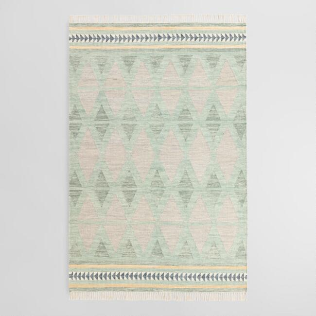 Green and Gray Diamond Wool Kilim Bakari Area Rug