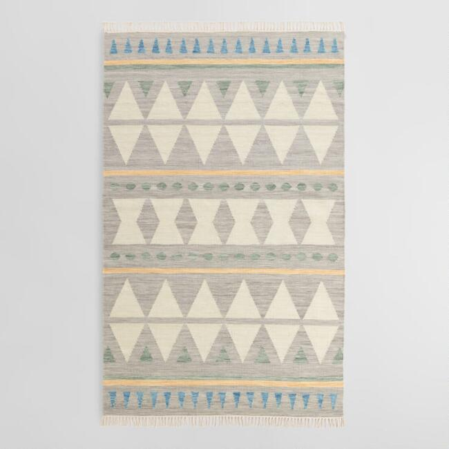 Blue Diamond Wool Kilim Lekan Area Rug