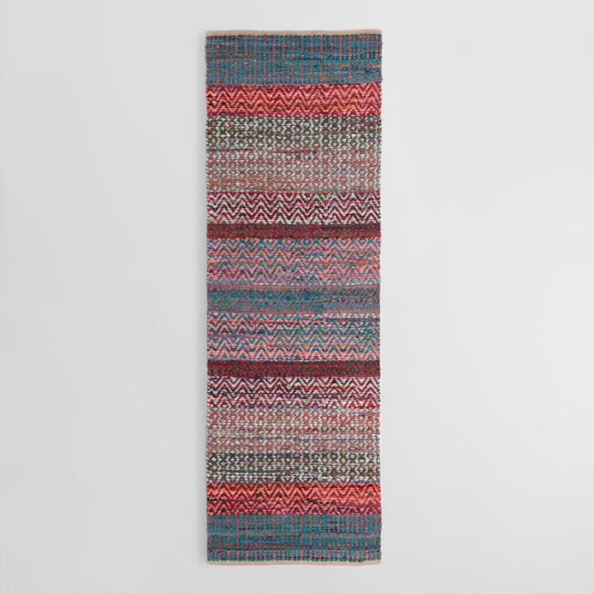 2.5'x8' Blush Stripe Chindi Floor Runner