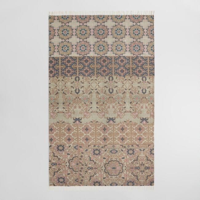 5'x8' Blue and Blush Medallion Print Arabella Area Rug