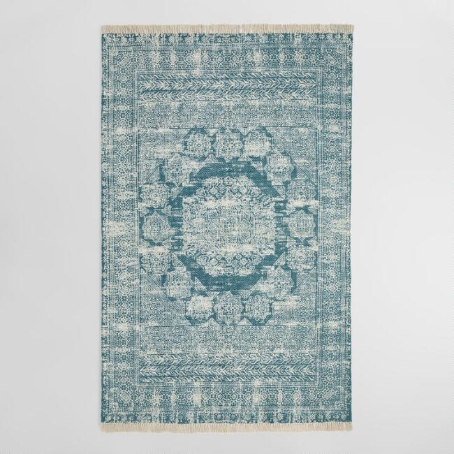Indigo Blue Print Cotton Dhurrie Ariana Area Rug by World Market