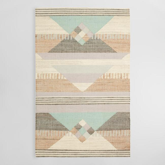 Geometric Jute and Wool Kilim Sarafina Area Rug