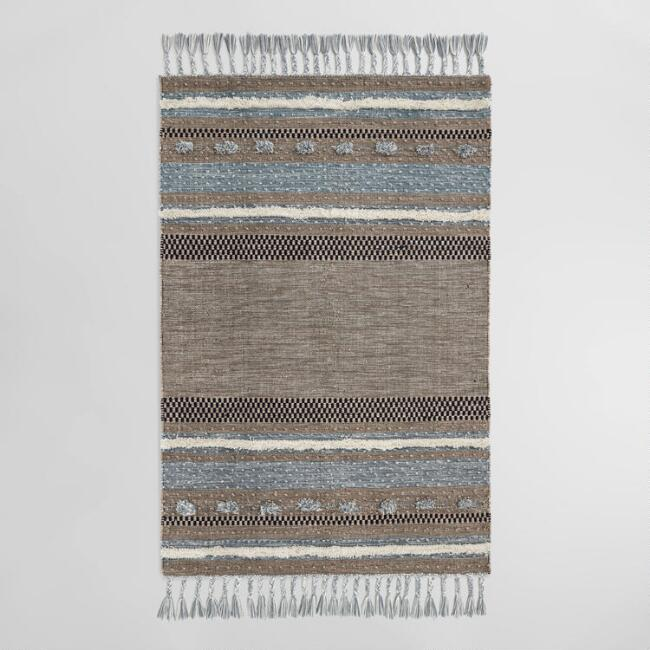 Brown and Blue Kilim Omar Indoor Outdoor Rug | World Market