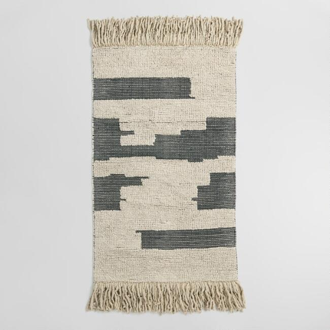 3'x5' Black and Natural Chunky Wool and Cotton Area Rug