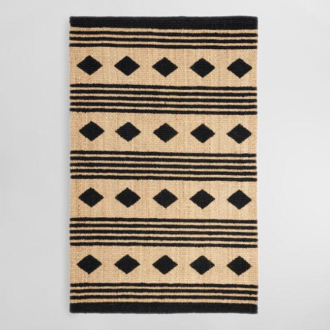 5'x8' Black and Tan Geometric Chunky Jute Kaleb Area Rug