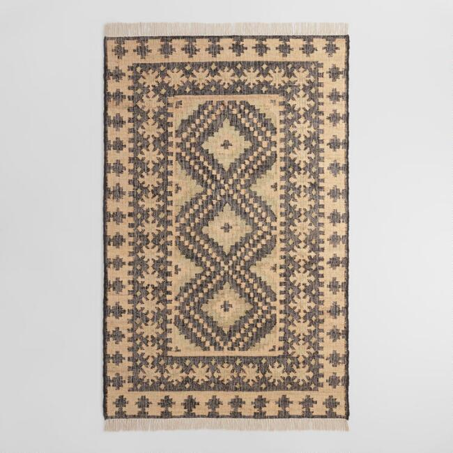 Gray and Light Blue Diamond Jute Kilim Mira Area Rug