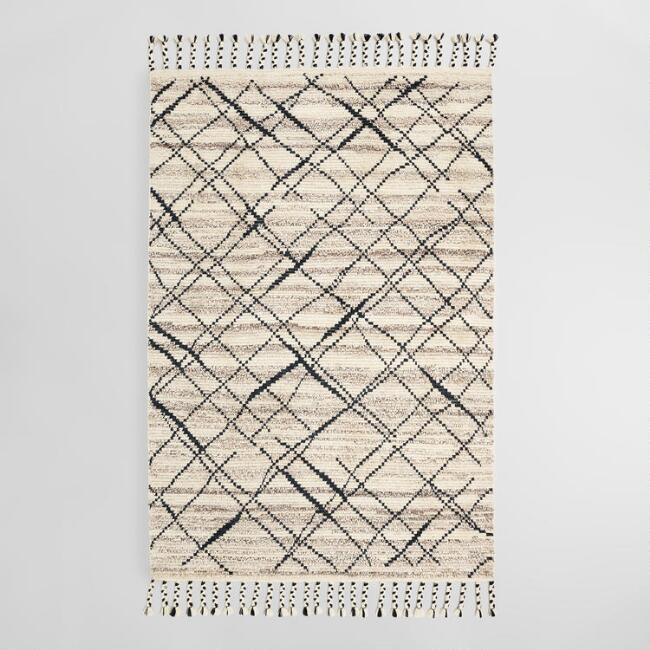 6'x9' Black Moroccan Style Hand Knotted Wool Ari Area Rug